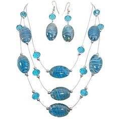 Oval Swirl Glass Multi Row Beaded Illusion Wire Lightweight Necklace and Dangle Earring Set (Aqua Blue) *** See this great product.