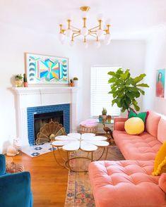 Design Room, House Design, Colourful Living Room, Colorful Rooms, Colorful Apartment, Colourful Home, Colorful Decor, Retro Living Rooms, Colorful Interior Design