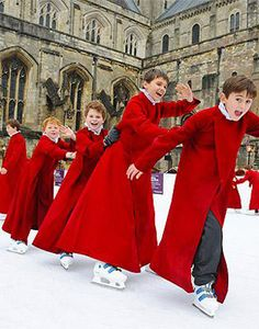 Winchester Cathedral ice skating rink and christmas market. December