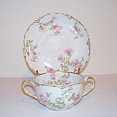 Haviland Limoges Charles Mayer Pink Blossoms Bouillon Cup and Saucer
