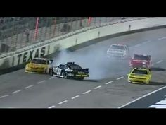 Kyle Larson narrowly misses the other drivers as he spins out at Texas Motor Speedway!  For more NASCAR news, check out: http://www.NASCAR.com