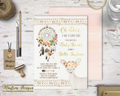 Boho Chic Watercolor Oh Deer A Baby Is Almost Here, Dream Catcher, Floral Baby Shower, Bridal Shower, Birthday Party Invitation DIGITAL FILE by montrosedesigns on Etsy