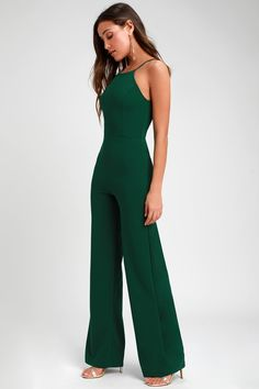 Make sure you have a go-to party look like the Lulus Aniyah Forest Green Wide-Leg Halter Jumpsuit! A halter neckline and wide-leg pants shape this jumpsuit. Formal Jumpsuit, Halter Jumpsuit, Homecoming Jumpsuit, Emerald Green Jumpsuit, Wide Leg, Designer Jumpsuits, Long Romper, Long Jumpsuits, Green Jumpsuits
