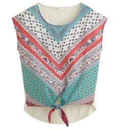 Bluzka damska jasnozielony nadruk - Promod