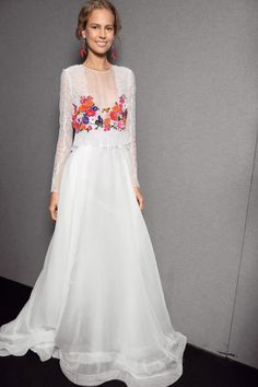 A bit of color on this dress from Alberta ferretti makes it a lovely choice  for a wedding where all white isn t right. 69b2291490af