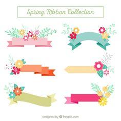 Descarga gratis vectores de Pack de cintas con detalles florales