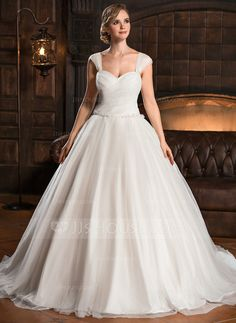 Ball-Gown Sweetheart Chapel Train Ruffle Beading Sequins Zipper Up Cap Straps Sleeveless Church General Plus No Winter Spring Fall Ivory Tulle Wedding Dress