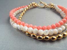 Pink Coral M.O.P and Gold Three Strand Bracelet by byLaurieB