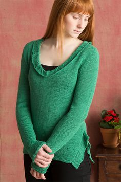 Free Knitting Pattern for Ruffle Pullover - Long-sleeved sweater with a shirred collar and ruffled side vents. Sizes XS (S, M, L, XL, Designed by Tonia Barry for Classic Elite Yarns. Sweater Knitting Patterns, Knitting Stitches, Knit Patterns, Free Knitting, Top Pattern, Free Pattern, Classic Elite Yarns, Knitting Accessories, Knitting Projects