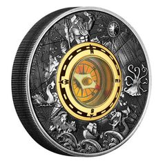 An extraordinary antiqued silver release with a golden coloured compass set in its centre | Compass 2017 2oz Silver Antiqued Coin | The Perth Mint