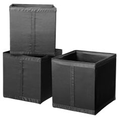 Handle on one side makes the box easy to pull out.All three boxes fit side by side in a 100 cm wide wardrobe frame