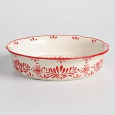 Pretty! #affiliatelink Red Scandinavian Inspired Ceramic Pie Plate #kitchen #pieplate