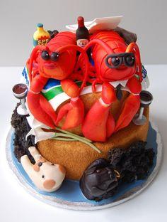 Lobsters on a beach wedding cake by CharmPastry.  #JoesCrabShack #JoesMaineEvent