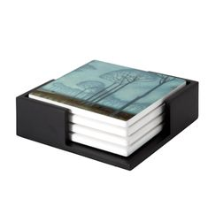 Row of Trees coaster set of 4 Decorative Tile, Decorative Boxes, Ceramic Coasters, Exhibition Space, Wooden Tables, Art Reproductions, Coaster Set, Contemporary Artists, Masters