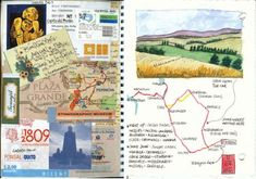 MagaMerlina: About Travel Journals: Interview in Travel and Art I do collage with found ephemera at the hotel or where I am staying too. Let's Make Art, Artist Journal, Travel Drawing, Album Book, Smash Book, Art Sketchbook, Journal Inspiration, Poster Prints, Journey