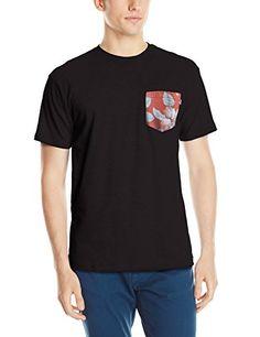 HUF Mens Aloha Aina Pocket T-Shirt, Black, Large