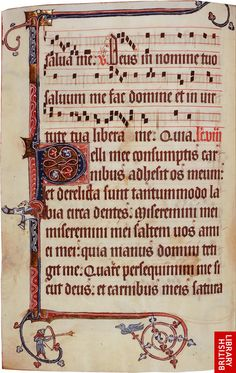 This is an example of a page containing Gregorian chant in Gothic square musical notation. The liturgical section at the end of the Psalter shows that it was for use in services as well as for personal devotions