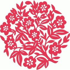 Silhouette Design Store: floral nature lace round background