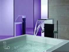 Deze badkamer kraan is op een unieke manier vormgegeven. Bekijk meer mogelijkheden bij Laurens Badkamers.