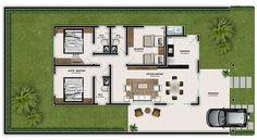 Casa com três quartos e pequena