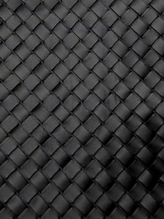 Black square leather intrecciato weave