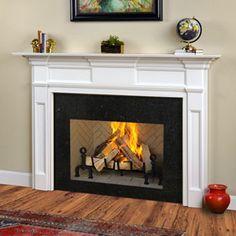 Wood Mantel Shelf, Wood Fireplace Mantel, Simple Fireplace, Fireplace Shelves, Fireplace Built Ins, Custom Fireplace, Wood Mantels, Home Fireplace, Fireplace Remodel