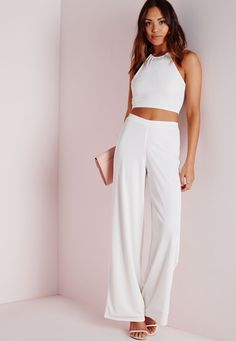 Be a part of the latest chic craze when you team these ribbed beauts with the matching necklace detail crop top and sky high heels. Featuring a an elasticated waist, they are perfect for any occasion, but most importantly they look gr. White Outfits, Matching Outfits, White High Heels, White Trousers, Matching Necklaces, Sky High, Missguided, C'est Parti, Wide Leg