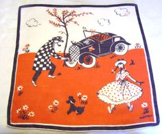 Vintage Novelty Frederique Handkerchief with Scene
