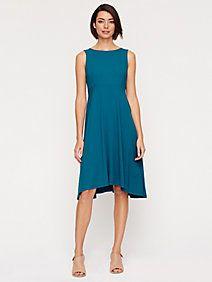 Bateau Neck Knee-Length Dress with V-Back in Viscose Jersey
