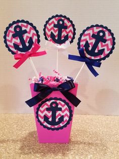 It's A Girl Pink and Navy Nautical Centerpiece-Baby Shower Navy Birthday, Birthday Party Themes, Girl Birthday, Baby Shower Marinero, Nautical Centerpiece, Anchor Baby Showers, Nautical Party, Baby Shower Centerpieces, Girl Shower