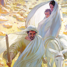 Mary, Joseph, and Christ leaving Bethlehem. What a beautiful painting!Rose Datoc Dall does such beautiful work