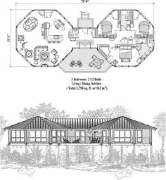 , 3 Bedrooms, 2 Baths, Piling Collection by Topsider Homes Round House Plans, Dream House Plans, House Floor Plans, My Dream Home, Octagon House, Dome House, House Blueprints, House Layouts, Little Houses