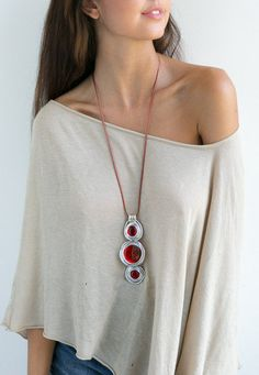 red necklace, long necklace, pendant necklace, leather necklace, statement necklace, wrapped stone necklace, stylish necklace, charm.