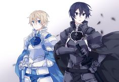 ' Kirito turned away towards the bleeding horizon. Eugeo continued, 'Chances are they'll find us before we even begin searching. Anime Meme, Anime Manga, Anime Guys, Arte Online, Online Art, Eugeo Sword Art Online, Kirito Sword, Asuna, Blue Sword