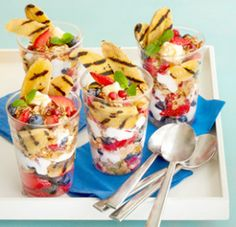 Grilled Banana Parfait. These make a super cute presentation for parties. #FruitsAndVeggiesDay