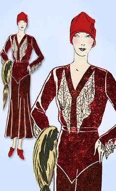 1930s VTG Ladies Home Journal Sewing Pattern 6651 Uncut Afternoon Dress Sz 38 B #LadiesHomeJournal #AfternoonDressPattern
