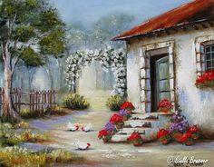 Art by Stella Bruwer white cottage flowered arch