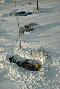 Motorists dig out a snow-buried car after a huge blizzard Alaska, Weather Seasons, Destinations, Winter Scenery, Winter Storm, South Bend, Snow Scenes, Snow And Ice, Cool Backgrounds