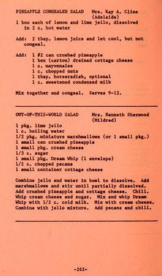 Jello Desserts, Jello Recipes, Old Recipes, Vintage Recipes, Cookbook Recipes, Cooking Recipes, Green Jello Salad, Fruit Salad, Cooking