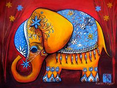 Elephant painting - Cute Elephant DIY Painting By Numbers Colorful Elephant, Little Elephant, Elephant Love, Fabric Painting, Oil Painting On Canvas, Diy Painting, Painting Classes, Madhubani Art, Madhubani Painting