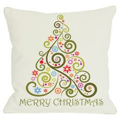 Pillow with a whimsical Christmas tree motif and typographic details.  Product: PillowConstruction Material: Pol...
