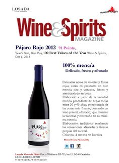 Pájaro Rojo 2012  91 Points,  Year's Best, Best Buy, 100 Best Values of the Year Wine & Spirits, Oct 1, 2013