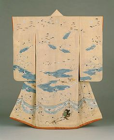 """""""Furisode with Imagery Alluding to the Noh Play Ashikari, Edo period (1615-1868), first half of 19th century.  Paste-resist dyeing (yuzen) and silk and metallic thread embroidery on pale yellow silk crepe (chirimen).""""  LACMA (via Tumblr)"""