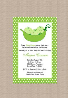 Triplets Pea in a Pod Baby Shower Invitation by Honeyprint on Etsy, $15.00
