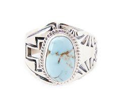 Navajo Silver Dry Creek Turquoise Adjustable Ring Size 8.5-9.5 #NativeAmericanNavajo