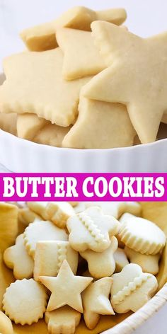 Butter Cookies - the BEST butter cookies recipe ever! These butter cookies are buttery, crumbly, melt in the mouth. Butter Cookies - the BEST butter cookies recipe ever! These butter cookies are buttery, crumbly, melt in the mouth. Butter Sugar Cookies, Best Sugar Cookies, Valentines Sugar Cookies Recipe, Lemon Butter Cookies Recipe, Butter Cookies Christmas, Best Cookies Ever, Sugar Cookie Icing, Sweet Desserts, Sweet Recipes