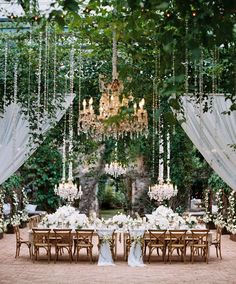 What's not to love about a backyard wedding? They're intimate, convenient, and perhaps best of all, often a budget friendly (if not free) venue. But before you write off a backyard wedding as an overly casual affair that welcomes a rustic vibe only Wedding Table, Wedding Ceremony, Rustic Wedding, Trendy Wedding, Elegant Wedding, Ethereal Wedding, Wedding Centerpieces, Centerpiece Ideas, Intimate Wedding Reception