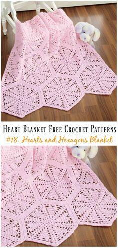 Crochet Afghans, Crochet Heart Blanket, Afghan Crochet Patterns, Crochet Stitches, Crochet Baby, Crochet Hearts, Crochet Blankets, Baby Blankets, Crochet For Beginners Blanket
