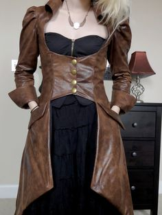 Brown Faux Leather Underbust Trench Coat . Gathered Puff Sleeves . Wide Pirate Cuffs . Pockets . Steampunk Firefly
