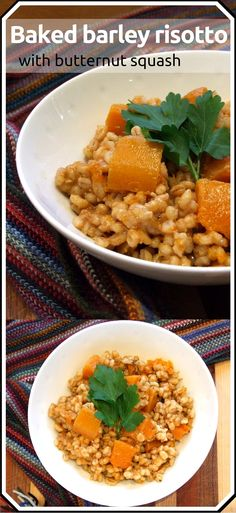 Easy to assemble, this barley risotto bakes to comforting perfection. An ideal warming family meal on a cold winter's day. Vegan & parve. Vegan Lunch Recipes, Delicious Vegan Recipes, Dinner Recipes, Vegan Food, Vegan Recepies, Vegan Menu, Amazing Recipes, Vegan Vegetarian, Tasty